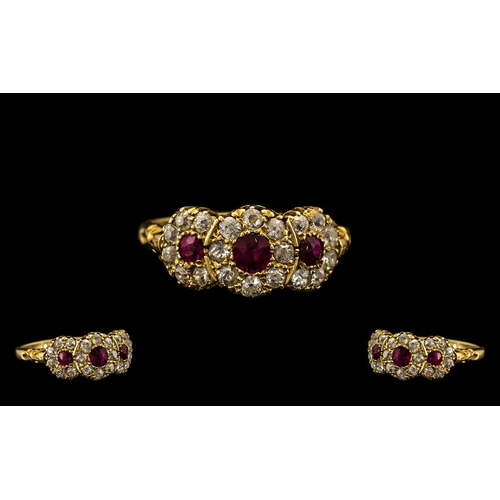 23 - Edwardian Period Well Made and Attractive 18ct Gold Ruby and Diamond Set Dress Ring of pleasing desi...