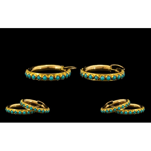 24 - A Fine Pair of Stylish 18ct Gold Turquoise Set Hoop Earrings, of Good Size Proportions. Each Marked ...