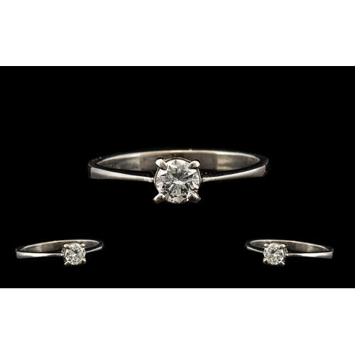 26 - 18ct White Gold Single Stone Diamond Set Ring, The Single Round Brilliant Cut Diamonds In Excellent ...