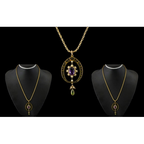 34 - Edwardian Period 9ct Gold Mounted Attractive Amethyst & Pearl Pendant with Peridot drop.  Attached s...