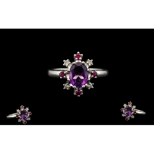 37 - Superb Quality 18ct White Gold Top Quality Amethyst - Ruby and Diamond Set Dress Ring. The Central F...
