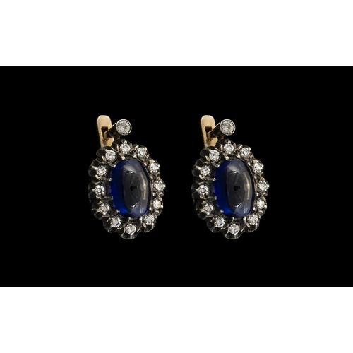 40 - Russian 1970s Fine Quality 14ct Gold Pair of Sapphire & Diamond Set Earrings.  The cabouchon cut sap...