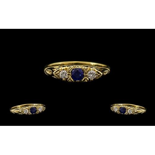 44 - 18ct Gold - Attractive Diamond and Sapphire 3 Stone Ring, Gypsy Setting. Hallmark Birmingham 1979. T...