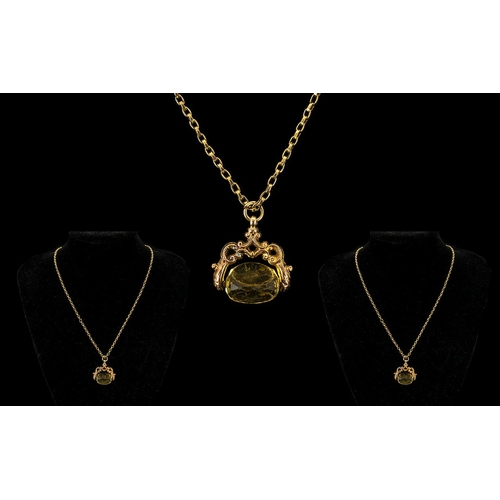 58A - Antique 9ct Gold Swivel Stone Set Fob with Attached 9ct Gold Belcher Chain, The Clasp Is Marked 750 ...