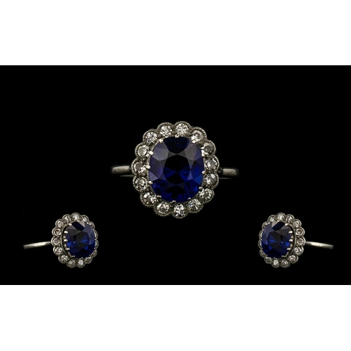 8 - Art Deco Period 18ct White Gold Attractive Sapphire & Diamond Cluster Ring.  Flowerhead setting.  Th...