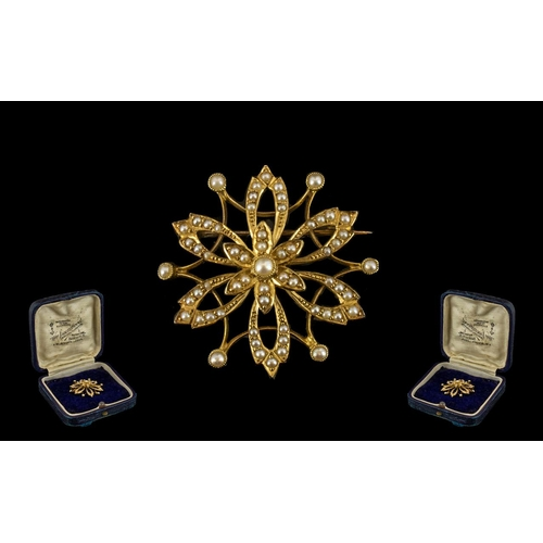 9 - Victorian Period 1837 - 1901 Fine Quality 15ct Gold Fancy Brooch of Attractive Form Set with Seed Pe...