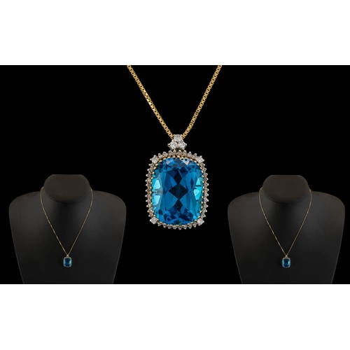 21 - 18ct Yellow Gold - Attractive Blue Topaz and Diamond Set Pendant Drop, Attached to 18ct Gold Box Cha...
