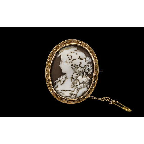 45 - Antique Period Shell Cameo Brooch Set In a 15ct Gold Oval Shaped Ornate Mount with 15ct Gold Safety ...