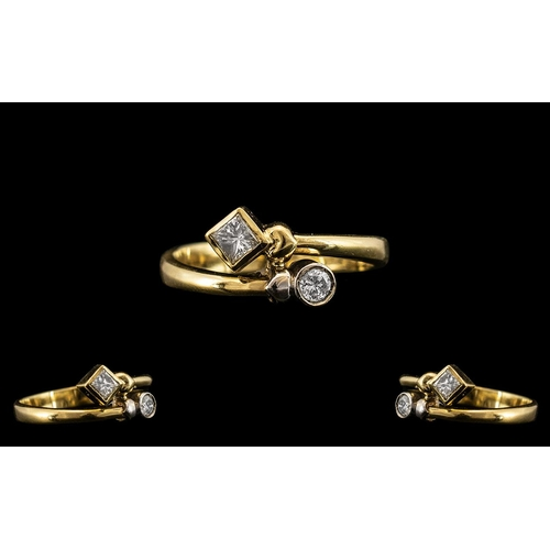 12 - 18ct Two Tone Gold Contemporary and Attractive Sweethearts Two Stone Diamond Set Ring. Marked 18ct t...