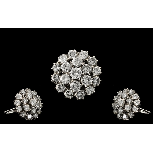 15 - 18ct White Gold - Superb Quality Diamond Set Bombe Style Cluster Ring - Claw Set In Gauge Back Mount...