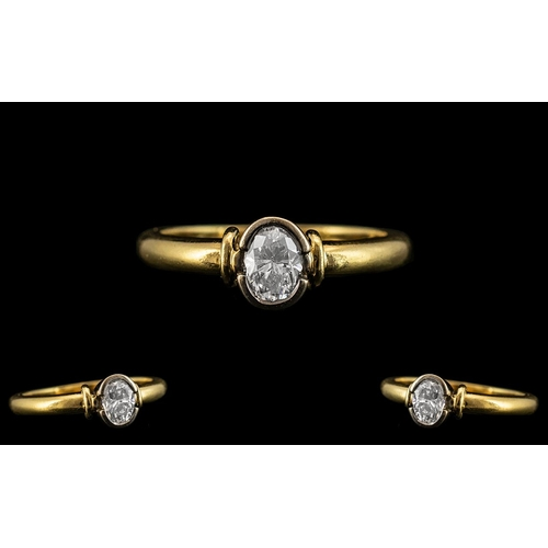44 - 18ct Gold Superb Quality Pave Set Single Stone Diamond Ring of Excellent Contemporary Design. The Ov...