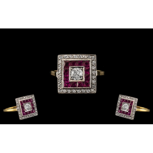 33 - Art Deco Style Attractive and Good Quality Ruby and Diamond Set Ring of Square Form. The Larger Cent...