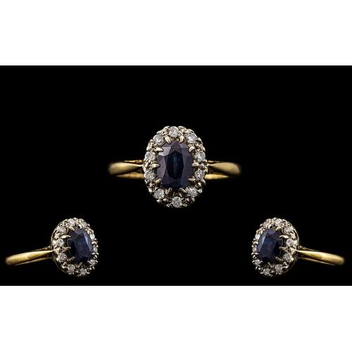 47 - 18ct Gold Attractive Sapphire and Diamond Cluster Ring - Flower head Setting. Hallmark Birmingham 19...