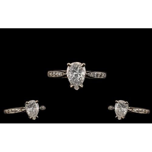 23 - Ladies 18ct White Gold Superb Single Stone Diamond Set Ring. Full Hallmark for 750 - 18ct. The Pear ...