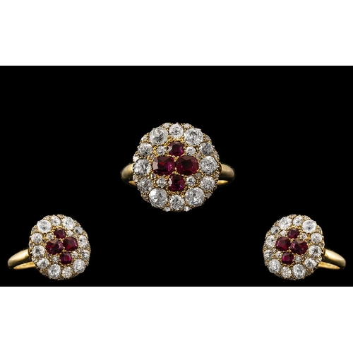 1 - Mid Victorian Period -  Superb Quality and Attractive 18ct Gold Ruby and Diamond Dress Ring. The Fou...
