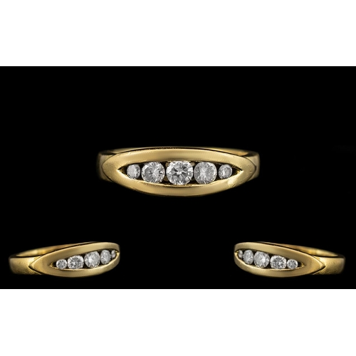 39 - Ladies 18ct Yellow Gold - Attractive 5 Stone Diamond Set Ring of Pleasing Pave Set Design and Solid ...