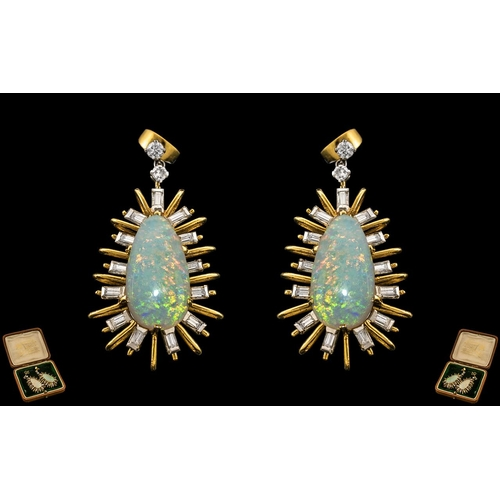 4 - A Superb Pair of Star-burst Design 18ct Gold Opal and Diamond Set Pair of Earrings of Large and Impr...