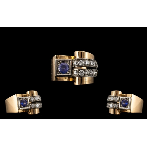 41 - Art Deco - Designed Superb 18ct Gold Sapphire and Diamond Set Cocktail Ring - From the 1930's. The R...
