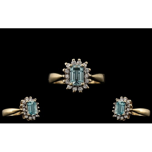 49 - Ladies - 9ct Gold Attractive Aquamarine and Diamond Set Cluster Ring. Full Hallmark to Interior of S...