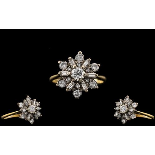 2 - Art Deco Period 18ct Gold - Attractive Diamond Set Dress Ring. Marked 18ct. The Round Brilliant Cut ...