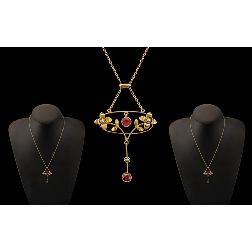 32 - Victorian Period - Attractive and Petite 9ct Gold Seed Pearl and Garnet Set Pendant Drop with Integr...