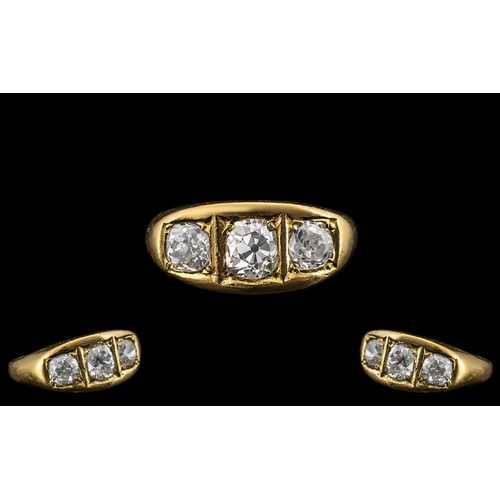 35 - Superb 18ct Gold Three Stone Diamond Set Ring, the three cushion cut diamonds, of superb colour and ...