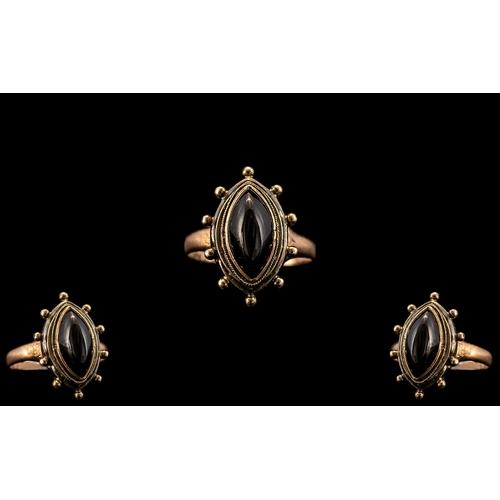 46 - 9ct Gold - Attractive Single Stone Garnet Set Ring, The Setting of Ships Wheel Design. Hallmark Birm...