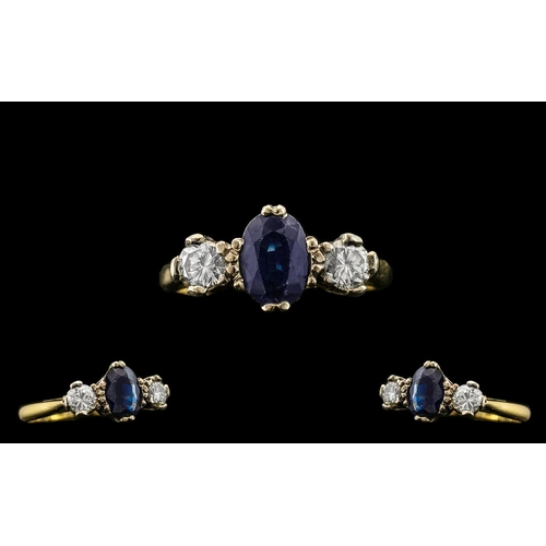 53 - 18ct Gold - Attractive 3 Stone Diamond and Sapphire Set Dress Ring. Full Hallmark for London 1953. T...