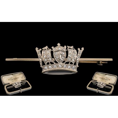 55 - Antique Period - Superb 9ct White Gold and Platinum Diamond Set Coronet Brooch, In Original Box. Mar...