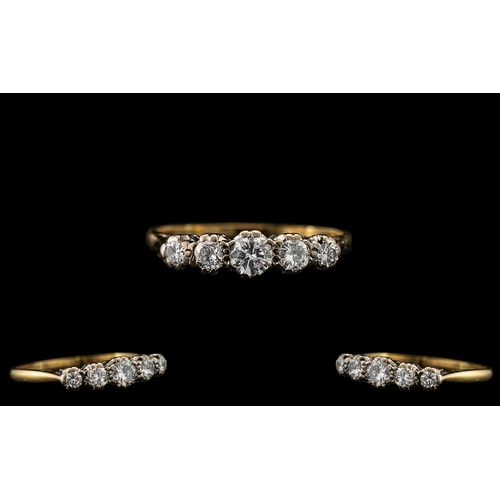 16 - 18ct Gold and Platinum Attractive 5 Stone Diamond Set Ring - Gallery Setting. c.1920. The Five Old R...