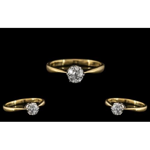 48 - 18ct Gold and Platinum - Good Quality Single Stone Diamond Set Ring. The Brilliant Cut Diamond of Ex...