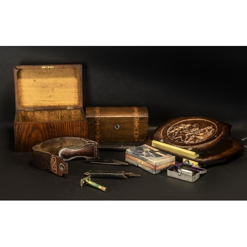 1596 - Leather Roma Strap with Pressed Copper Wall News Rack, Wood Tea Caddy.