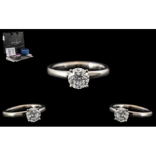 21B - Contemporary Designed 14ct White Gold - Superior Quality Single Stone Diamond Ring, From Leo Diamond...