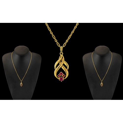46A - Ladies 9ct Gold - Attractive Pendant Drop Set with Rubies and Attached to 9ct Gold Link Design Chain...