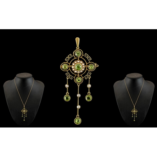 1 - Victorian Period Stunning 15ct Gold Peridot and Seed Pearl Set Combined Pendant Drop - Brooch of Exq...
