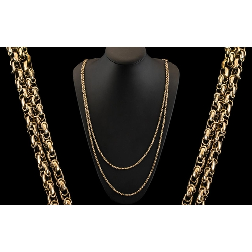 10 - Antique Period 9ct Gold Wonderful Designed Muff Chain of Extra Length and Quality. c.1890 - 1900. Ma...