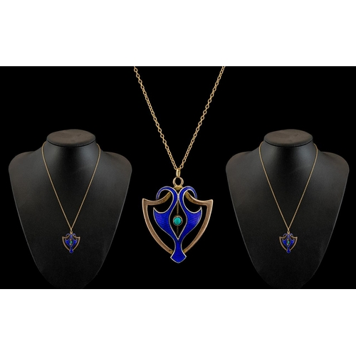 11 - Art Nouveau - Attractive and Superb 9ct Gold and Enamel Pendant Set with Turquoise to Centre of Pend...