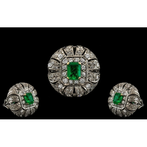 11A - Art Deco Period - 1930's Stunning Platinum Diamond and Emerald Set Large and Impressive Cocktail Rin...