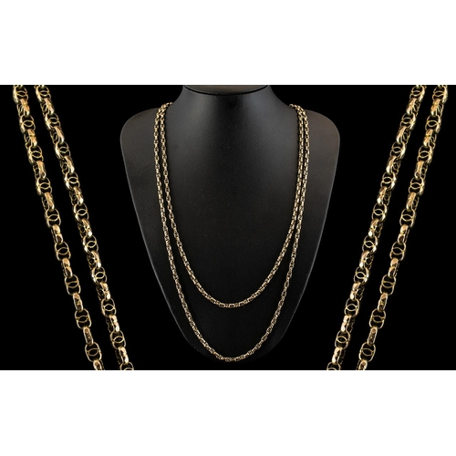 12 - Victorian Period Attractive 9ct Gold Muff Chain with Fancy Ornate Design on Each Link. Marked 9ct. c...