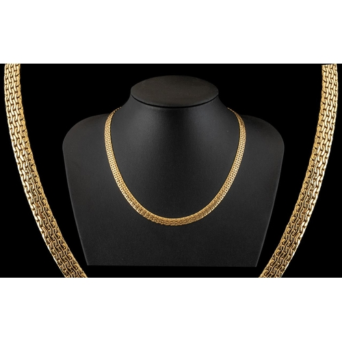14 - 14ct Yellow Gold - Fine Quality / Attractive Basket Weave Design Necklace. Marked 14ct. Stylish and ...