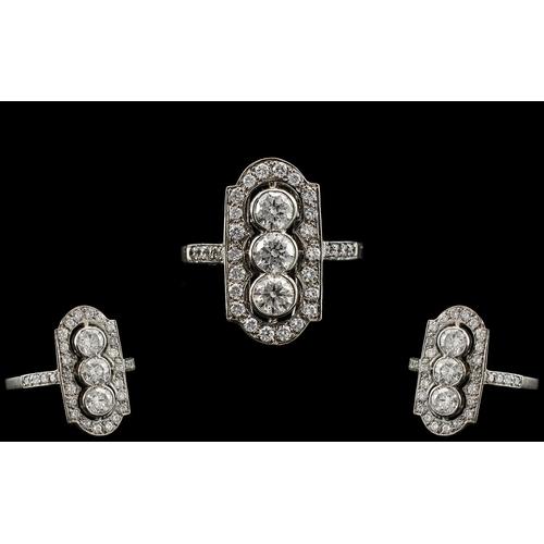 15 - Platinum Superb Quality Diamond Set Ring of Attractive Design. Marked Platinum to Interior of Shank....