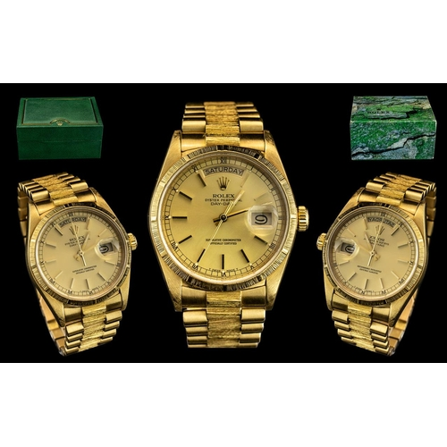 15A - Rolex - 18ct Gold Oyster Perpetual Day-Date Chronometer Gents President Bracelet Wrist Watch. Refere...