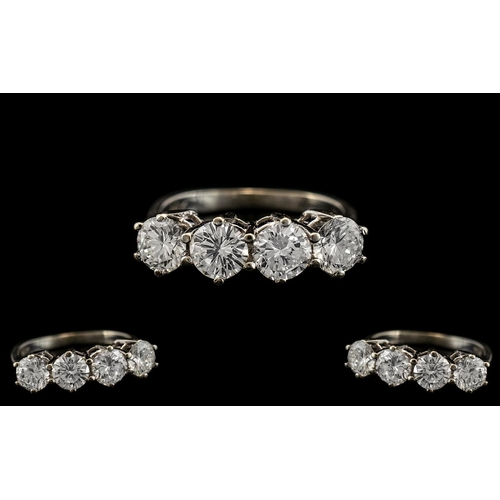16 - Ladies - Superb Quality 14ct White Gold 4 Stone Diamond Set Ring. Marked 14ct to Interior of Shank. ...