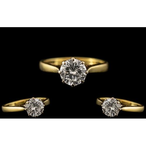 18 - 18ct Gold - Ladies Single Stone Diamond Set Ring. Marked 18ct - 750 to Interior of Shank. The Round ...