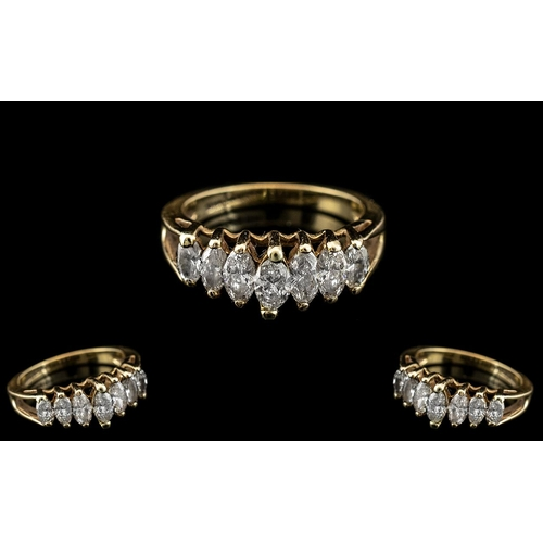 20A - 14ct Gold Attractive Contemporary Design 7 Stone Diamond Set Ring. The Marquise Shaped Diamonds of E...