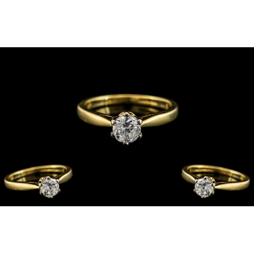 22 - 18ct Gold Single Stone Diamond Ring. Full Hallmark to Interior of Shank. The Round Brilliant Cut Dia...