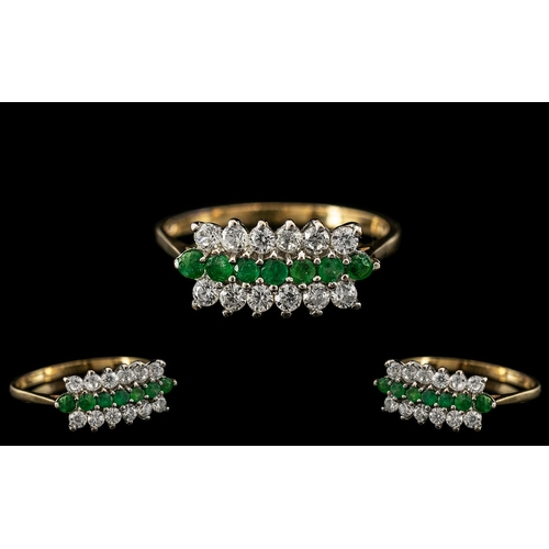 26 - Ladies - Attractive 9ct Gold Diamond and Emerald Set Dress Ring with Full Hallmark to Interior of Sh...