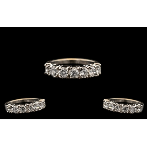 29 - 18ct White Gold - Excellent Quality 7 Stone Diamond Set Ring. Marked 750 to Interior of Shank. The R...