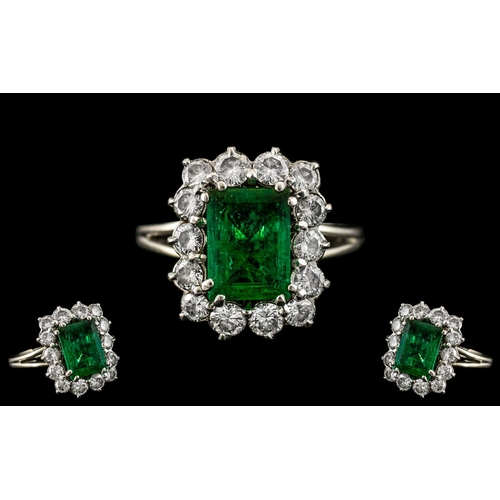 3 - Art Deco Period - 18ct White Gold Stunning Emerald and Diamond Set Dress Ring. c1930's. The Step-cut...