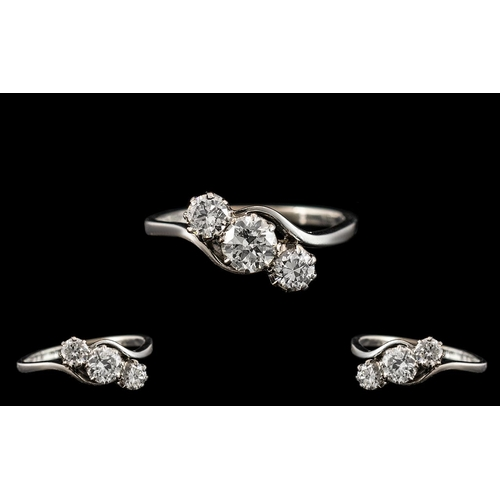 30 - Art Deco Period Platinum - Attractive and Excellent Quality 3 Stone Diamond Set Dress Ring. Marked P...